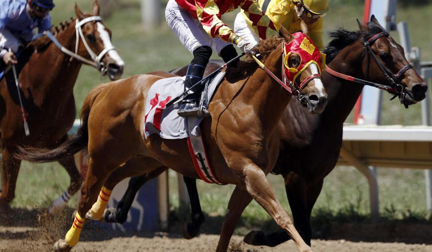 FILE - In this July 3, 2011, file photo, jockey Travis Wales, rear right, rides Gold Guy to a second-place finish as John Rochabrun eases Swiss Record, front, past at the finish line for the victory in the fourth race at Arapahoe Park in Aurora, Colo. Voters will decide whether to allow casino gambling at the horse racetrack and two other locations in the future, with the promise that the taxes raised will funnel $114 million a year to public schools. (AP Photo/David Zalubowski, file)