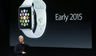 Apple CEO Tim Cook discusses the new Apple Watch during an event at Apple headquarters on Thursday, Oct. 16, 2014 in Cupertino, Calif. (AP Photo/Marcio Jose Sanchez) ** FILE **