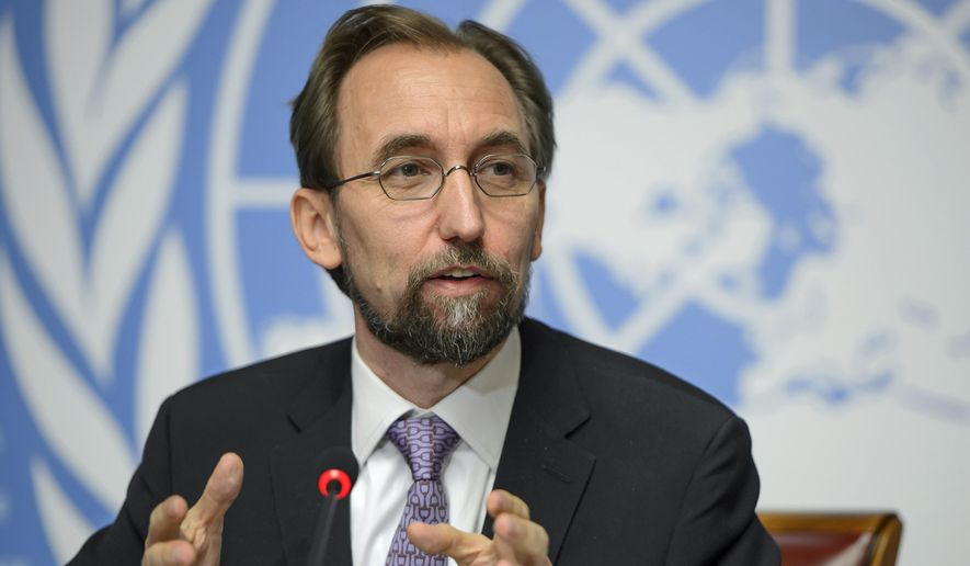 """U.N. High Commissioner for Human Rights Jordan's Zeid Raad al-Hussein speaks during a news conference at the European headquarters of the United Nations in Geneva, Switzerland, Thursday, Oct. 16, 2014. Zeid drew comparisons between the Ebola outbreak and the Islamic State group Thursday, labeling them """"twin plagues"""" upon the world that were allowed to gain strength because of widespread neglect and misunderstanding. (AP Photo/Keystone, Martial Trezzini)"""