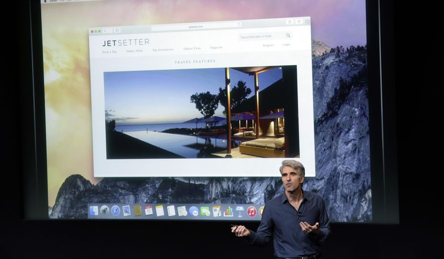 Craig Federighi, senior vice president of Software Engineering at Apple, discusses the new operating system update during an event at Apple headquarters on Thursday, Oct. 16, 2014 in Cupertino, Calif. (AP Photo/Marcio Jose Sanchez)