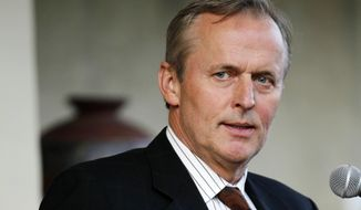 "FILE - In this May 22, 2011 file photo, author John Grisham speaks during the opening of the premier of the stage adaptation of  ""A Time To Kill"" at Arena Stage theater in Washington.  In an interview published Thursday Oct. 16, 2014 novelist John Grisham said that the United States is handing out unduly harsh prison sentences for child pornography offenses to men who probably just had too much to drink and ""pushed the wrong buttons.""  (AP Photo/Jose Luis Magana, file) **FILE**"