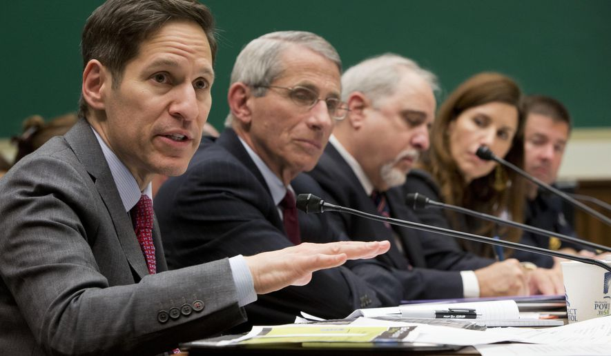 Centers for Disease Control and Prevention (CDC), Director Dr. Tom Frieden, far left, testifies as he sits on a panel with, from second from left,, Dr. Anthony Fauci, director of The National Institute of Allergy and Infectious Diseases, Dr. Robin Robinson, director of the Biomedical Advanced Research and Development Authority at the U.S. Department of Health and Human Service, Dr. Luciana Borio, assistant commissioner for counterterrorism policy at the U.S. Food and Drug Administration and John Wagner, the Acting assistant Commissioner at the Office of Field Operations for U.S. Customs and Border Protection, testify on Capitol Hill in Washington, Thursday, Oct. 16, 2014, before the House Energy and Commerce Committee's subcommittee on Oversight and Investigations hearing to examine the government's response to contain the disease and whether America's hospitals and health care workers are adequately prepared for Ebola patients. (AP Photo/Pablo Martinez Monsivais)