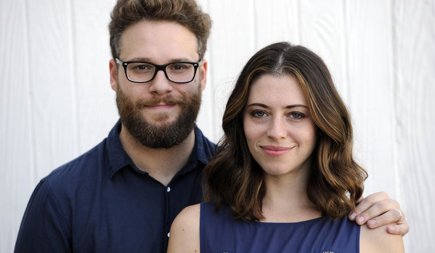 "In this Monday, Oct. 13, 2014 photo, actors/writers Seth Rogen and his wife Lauren Miller Rogen pose together for a portrait in Los Angeles. Rogen and his wife lead Hilarity for Charity, a movement established with the Alzheimer's Association to raise awareness of Alzheimer's Disease. Friday, Oct. 17, 2014, marks their third Hilarity for Charity (HFC) variety show, where comics Sarah Silverman and Craig Robinson, Rogen's ""50/50"" co-star Joseph Gordon-Levitt and others will help raise funds for Alzheimer's support and research. (Photo by Chris Pizzello/Invision/AP)"