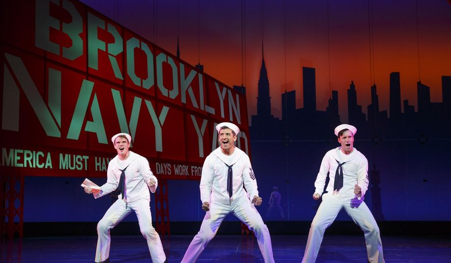"In this image released by Matt Ross Public Relations, Jay Armstrong Johnson, from left, Tony Yazbeck and Clyde Alves appear during a performance of ""On the Town,"" in New York. (AP Photo/Matt Ross Public Relations, Joan Marcus)"