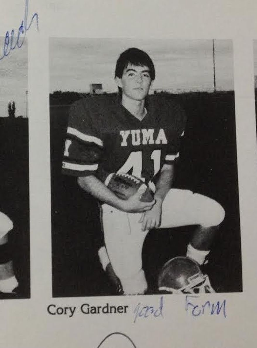 Republican Rep. Cory Gardner posted this photo of himself on Twitter after a Deadspin article accused him of lying about playing high school football.