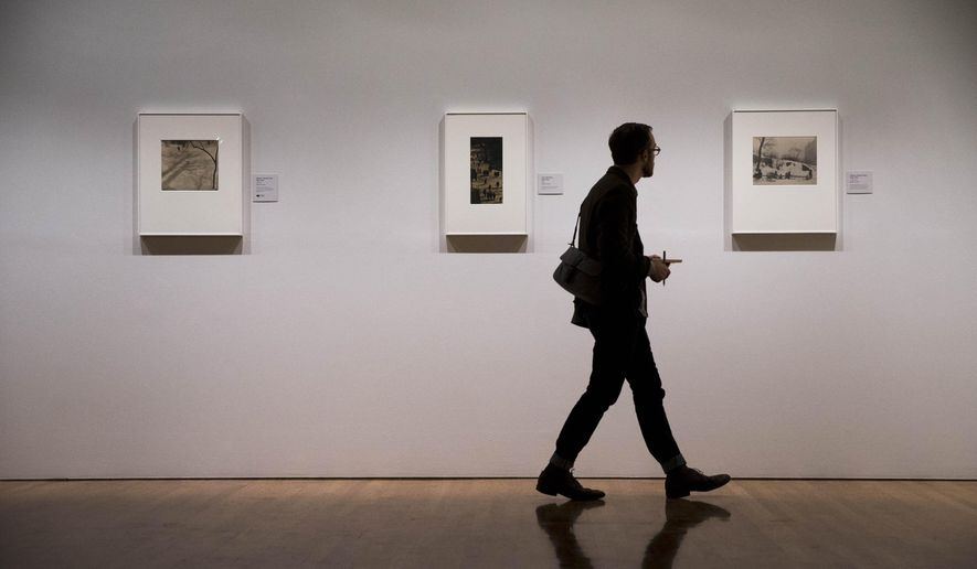 A man views photographs by Paul Strand Thursday, Oct. 16, 2014, during a preview at the Philadelphia Museum of Art in Philadelphia. The exhibition Paul Strand: Master of Modern Photography is scheduled to run from Oct. 21, 2014 to Jan. 4, 2015  (AP Photo/Matt Rourke)