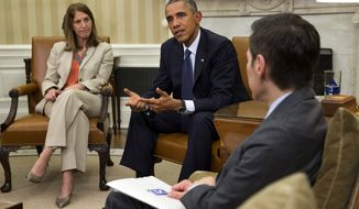 Sylvia Burwell, Secretary of Health and Human Services, left, and Dr. Thomas Frieden, Director of the Centers for Disease Control and Prevention, far right, listen as President Barack Obama speaks to the media about the government's Ebola response, in the Oval Office of the White House Thursday, Oct. 16, 2014, in Washington. (AP Photo/Jacquelyn Martin)