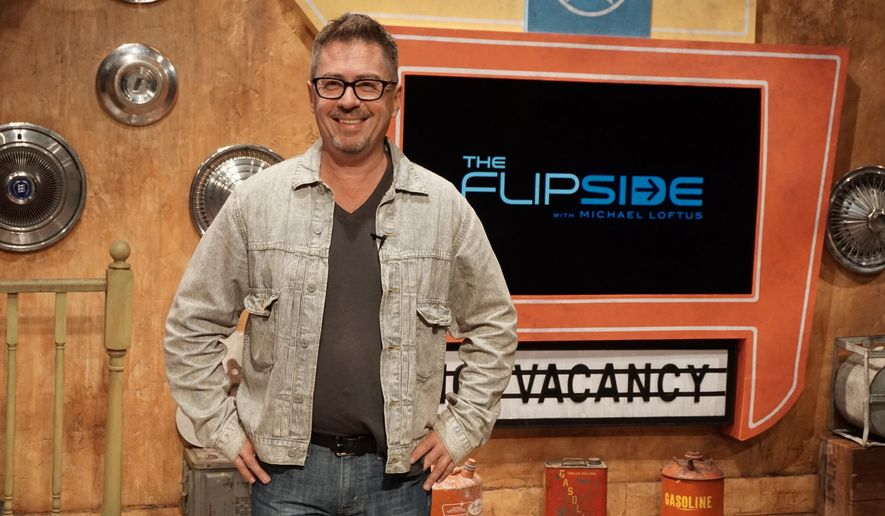 "Veteran stand-up comedian and host Michael Loftus on the set of ""Flipside"", a new political show produced by conservatives who vow they won't bash America. (Image from ForProfit Productions)"