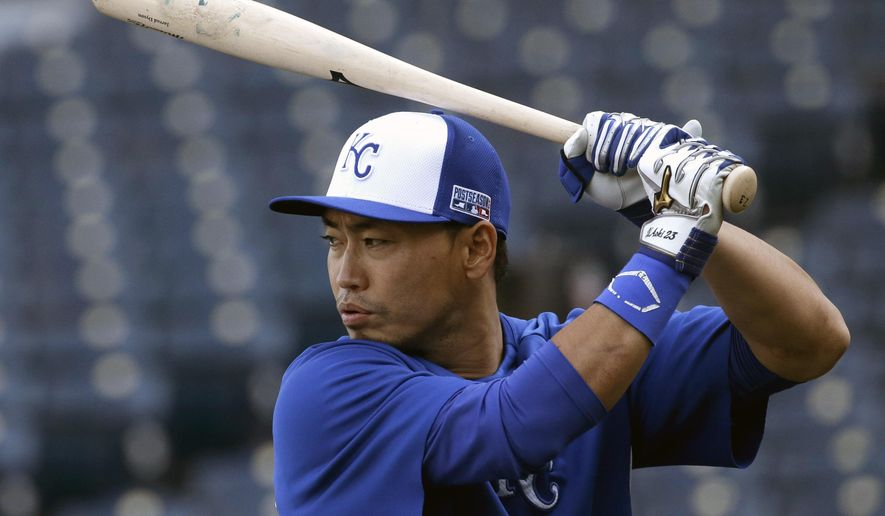 Kansas City Royals' Norichika Aoki, from Japan, gets ready to bat during baseball practice Friday, Oct. 17, 2014, in Kansas City, Mo. The Royals are to host the San Francisco Giants in Game 1 of baseball's World Series on Oct. 21. (AP Photo/Charlie Riedel)