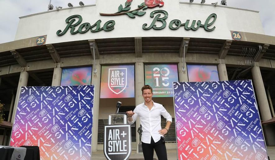This photo provided by BZA shows Shaun White during a press conference at the Rose Bowl in Pasadena, Calif., Friday, Oct. 17, 2014. White is bringing a two-day festival featuring action sports, music, fashion, art and food to the Rose Bowl on Feb. 21-22, 2015. The Olympian announced Friday that he will participate in snowboarding and skateboarding exhibitions at Air + Style, which White will host and produce through his own company. (AP Photo/BZA, Michael Zito)