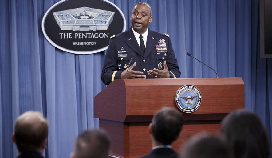 Army Gen. Lloyd J. Austin III, commander of U.S. Central Command, updates reporters at the Pentagon about the military campaign against Islamic State militants in Iraq, Friday, Oct. 17, 2014. The top U.S. commander for the Middle East says fighting over the Syrian border town of Kobani has allowed the U.S.- led coalition to take out large numbers of Islamic State group fighters that have been pouring in.   (AP Photo/J. Scott Applewhite)