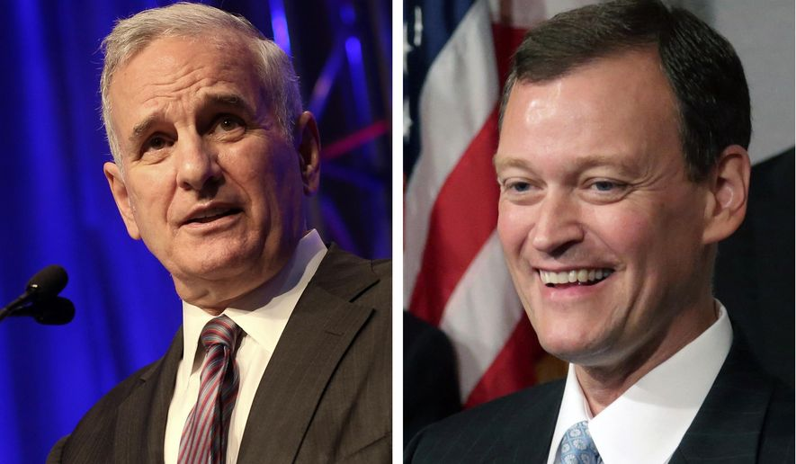 FILE - This undated combo of 2014 file photos shows Democratic Gov.Mark Dayton, left, and Republican challenger Jeff Johnson. The two are seeking the Minnesota governor's seat in the upcoming general election. (AP Photo/Jim Mone, File)