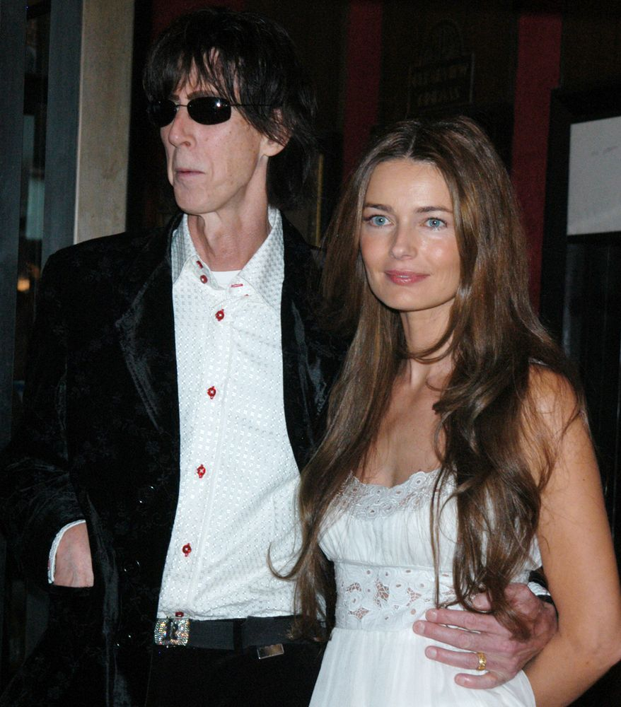 "Model Paulina Porizkova and husband Rick Ocasek, arrive at the Ziegfeld Theater in New York City on Monday, Sept. 19, 2005, for the premiere of 'No Direction Home: Bob Dylan"", a feature-length documentary film directed by Martin Scorsese about music legend Bob Dylan. (AP Photo/John Smock)"