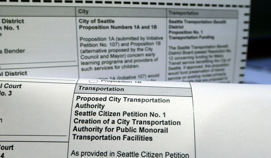 "A Seattle voter's ballot shows several items for proposition or petition numbers ""1"" Friday, Oct. 17, 2014, in Seattle. Seattle voters may need some extra help figuring out their November ballot being mailed to them this week because there are four items up for a vote all called proposition or petition No. 1. Two of those proposals concern transportation and two involve preschool education. The full names and explanations of the measures add some clarity and so does the voters' pamphlet. (AP Photo/Elaine Thompson)"