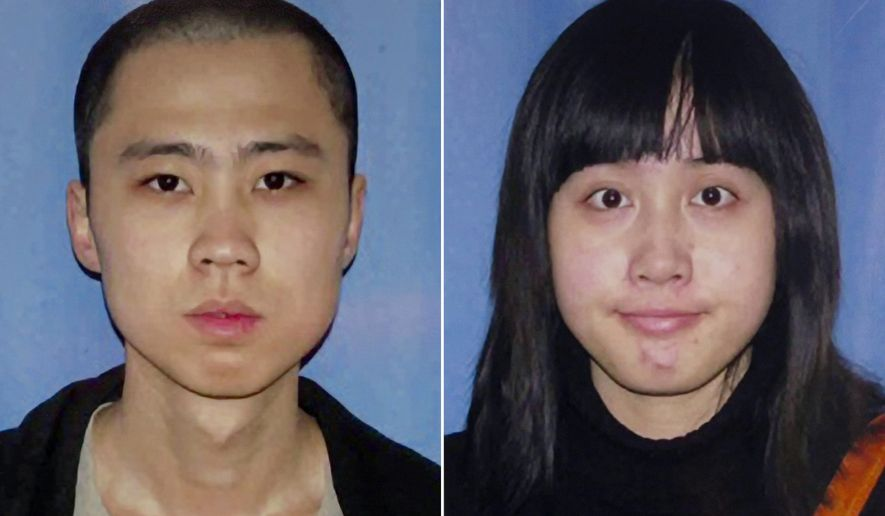 FILE - An April 13, 2012, file combo made from undated file photos released by the Los Angeles Police Department shows shooting victims Ming Qu, left, and Ying Wu. Jurors in the case of a man charged with the murders of the Chinese students at the University of Southern California were played a videotape Thursday, Oct. 16, 2014, where he bragged about the shootings. Prosecutors played the video of Javier Bolden boasting to a cellmate after his arrest in the killings. The 23-year-old engineering students were shot on April 11, 2012 while sitting in a parked car in a neighborhood near the campus.(AP Photo/Los Angeles Police Department, File)