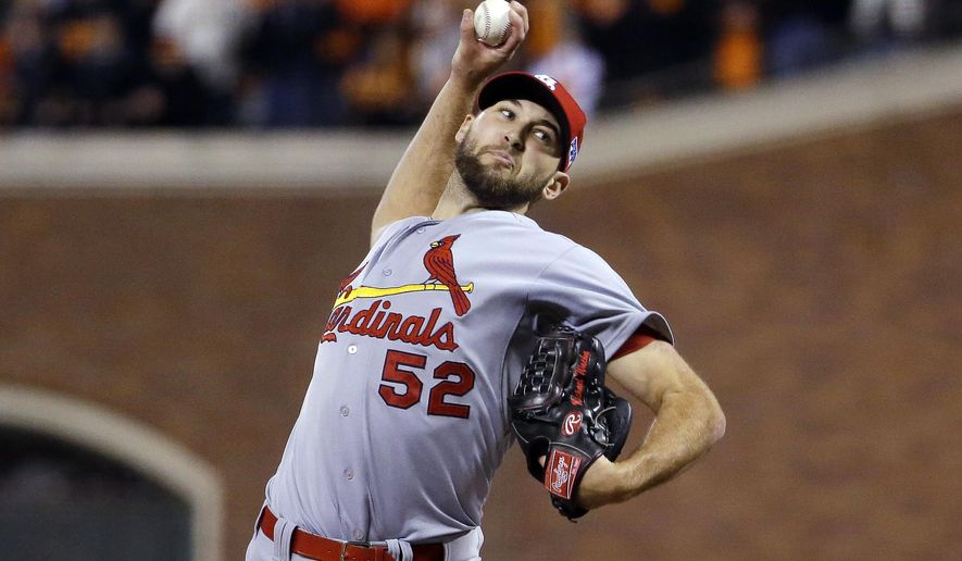 St. Louis Cardinals' Michael Wacha throws during the ninth inning of Game 5 of the National League baseball championship series against the San Francisco Giants Thursday, Oct. 16, 2014, in San Francisco. (AP Photo/Jeff Roberson)