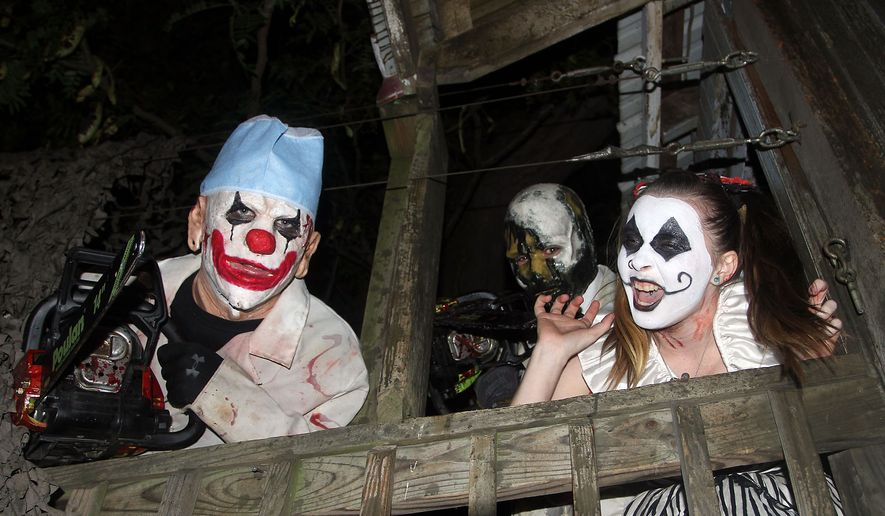 Clowns are ready to greet guests at the Field of Screams in Mountville, Pennsylvania. (Photograph by Jacquie Kubin / Special to The Washington Times)