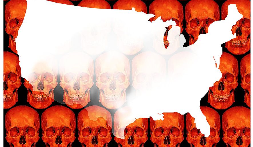 Illustration on the dangers of the ucontroled southern border by Alexander Hunter/The Washington Times
