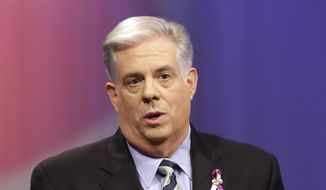 Larry Hogan, Republican candidate for Maryland governor, speaks during a debate with Democratic gubernatorial candidate, Lt. Gov. Anthony Brown, at Maryland Public Television's studios in Owings Mills, Md., Saturday, Oct. 18, 2014. (AP Photo/Patrick Semansky, Pool)