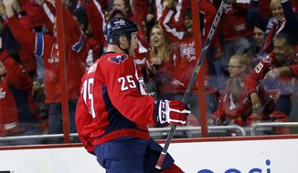 Washington Capitals left wing Jason Chimera (25) celebrates his goal in the first period of an NHL hockey game against the Florida Panthers, Saturday, Oct. 18, 2014, in Washington. (AP Photo/Alex Brandon)