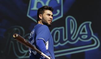 Kansas City Royals' Eric Hosmer gets ready to bat during baseball practice Friday, Oct. 17, 2014, in Kansas City, Mo. The Royals are scheduled to host the San Francisco Giants in Game 1 of the World Series on Tuesday. (AP Photo/Charlie Riedel)