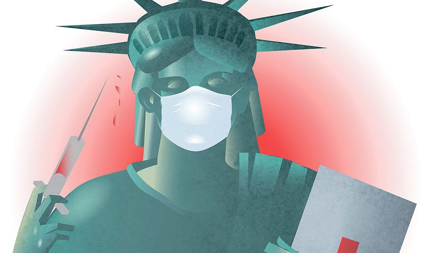 Illustration on U. S. Ebola preparedness by Linas Garsys/The Washington Times