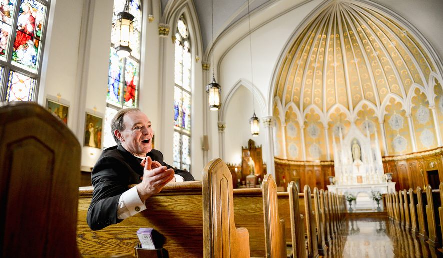 Monsignor James D. Watkins, pastor of Immaculate Conception Catholic Church since 2001, celebrate its 150 year anniversary and the extensive renovations of the building. About 250 families belong to the parish. (Andrew Harnik/The Washington Times)