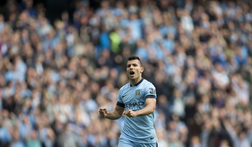 Manchester City's Sergio Aguero celebrates after scoring his third goal against Tottenham during the English Premier soccer match between Manchester City and Tottenham Hotspur at the Etihad Stadium, Manchester, England, Saturday Oct. 18, 2014. (AP Photo/Jon Super)