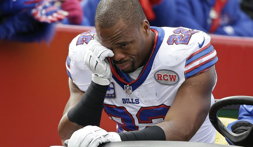Buffalo Bills running back Fred Jackson (22) is carted off the field during the first half of an NFL football game against the Minnesota Vikings, Sunday, Oct. 19, 2014, in Orchard Park, N.Y.  (AP Photo/Bill Wippert)