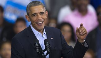 President Barack Obama campaigns for Maryland Gubernatorial Democrat candidate Lt. Governor Anthony Brown Sunday. (AP Photo/Cliff Owen)