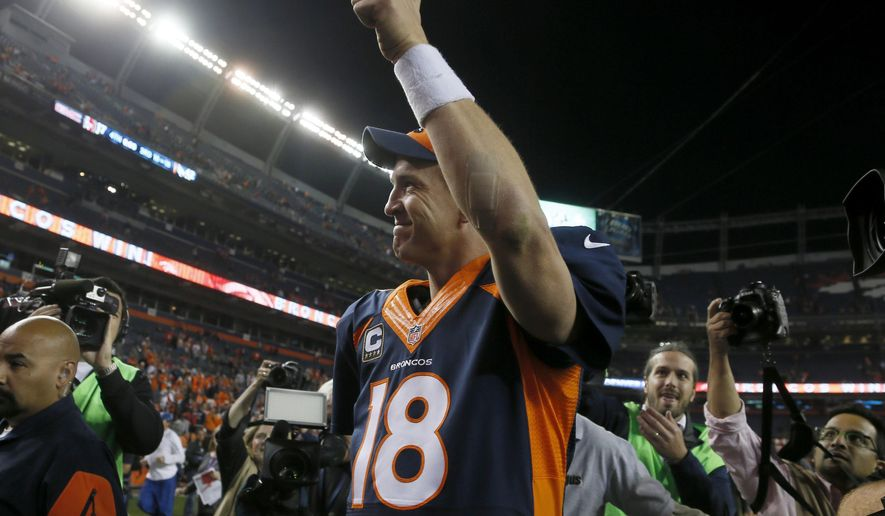 Denver Broncos quarterback Peyton Manning (18) leaves the field after an NFL football game against the San Francisco 49ers, Sunday, Oct. 19, 2014, in Denver. The Broncos won 42-17. (AP Photo/Joe Mahoney)