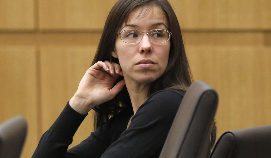 FILE - In this Jan. 9, 2013, file photo, Jodi Arias appears for her trial in Maricopa County Superior court in Phoenix. Lawyers are expected to make opening statements Tuesday, Oct. 21, 2014, at Arias' sentencing retrial, more than a year after a jury found her guilty of killing Travis Alexander in June 2008.  (AP Photo/Matt York, File)