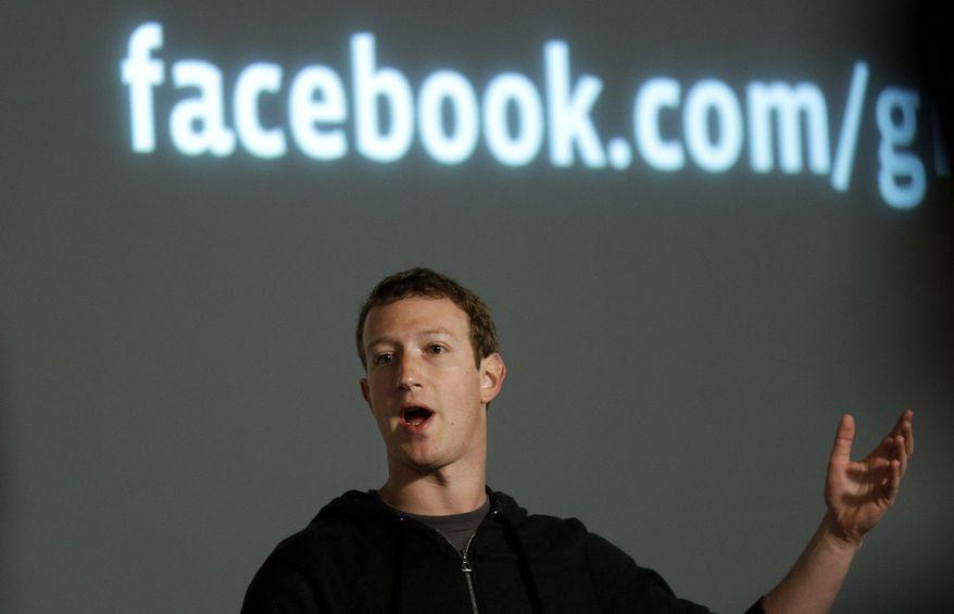 In this Jan. 15, 2013, file photo, Facebook CEO Mark Zuckerberg speaks at Facebook headquarters in Menlo Park, Calif. (AP Photo/Jeff Chiu, File)