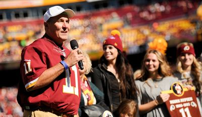The Washington Redskins add Super Bowl XXVI MVP Mark Rypien to FedEx Field's Ring of Honor during halftime as the Washington Redskins play the Tennessee Titans at FedEx Field, Landover, Md., Sunday, October 19, 2014. (Andrew Harnik/The Washington Times)