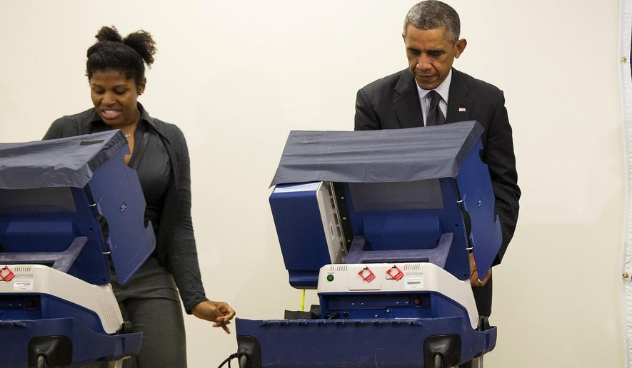 """In this photo taken Oct. 20, 2014, President Barack Obama votes next to Aia Cooper at the Dr. Martin Luther King Community Service Center in Chicago. As Cooper was voting next to Obama her boyfriend, Mike Jones, decided to crack wise: """"Mr. President, don't touch my girlfriend."""" Obama, laughing, replied: """"There's an example of a brother just embarrassing me for no reason.""""  (AP Photo/Evan Vucci)"""