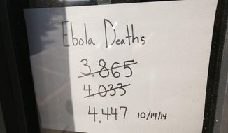 In this photo taken on Monday, Ot. 20, 2014, Clinic in a Can keeps a tally of worldwide Ebola deaths on their front door of their  headquarters in Wichita, Kan. They hope to send eight or more medical offices made from shipping containers to Liberia to help with the Ebola disaster response. (AP Photo/The Wichita Eagle, Jaime Green) LOCAL TELEVISION OUT; MAGS OUT; LOCAL RADIO OUT; LOCAL INTERNET OUT