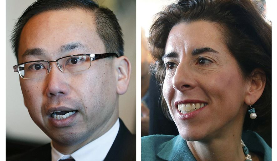 FILE - This combination of file photos shows Republican Allan Fung, left, and Democrat Gina Raimondo, candidates for governor of Rhode Island in the Nov. 4, 2014 general election. (AP Photo, File)