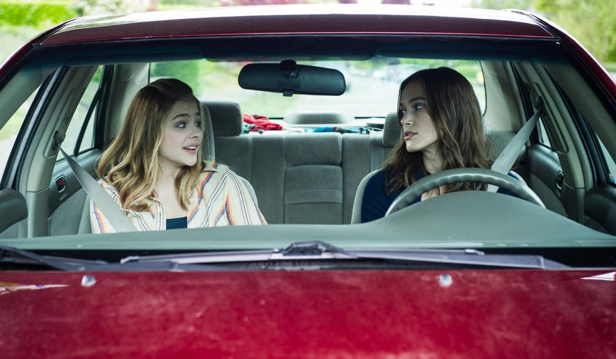 "In this image released by A24 Films, Chloe Grace Moretz, left, and Keira Knightley  appear in a scene from ""Laggies."" (AP Photo/A24)"