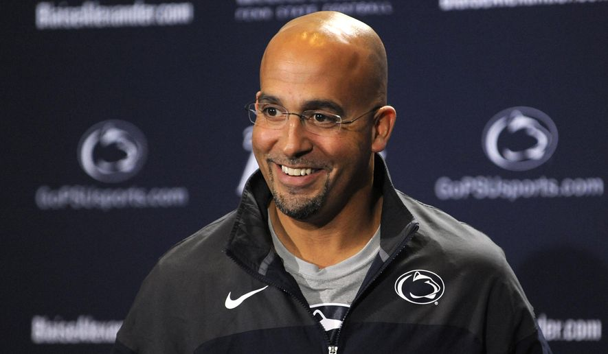 Penn State NCAA college football head coach James Franklin addresses the media during his weekly press conference in State College, Pa., Tuesday, Oct. 21, 2014. (AP Photo/Centre Daily Times, Nabil K. Mark ) MANDATORY CREDIT; MAGS OUT