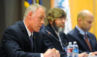 Republican candidate Ryan Zinke answers a question in the U.S. House race debate at Great Falls College Montana State University on Tuesday, Oct. 21, 2014. (AP Photo/The Great Falls Tribune, Rion Sanders)