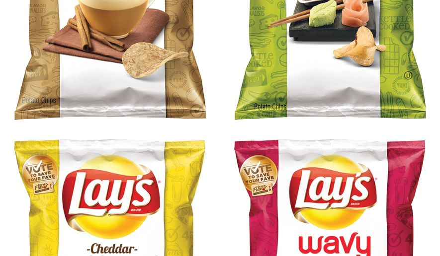 "FILE - This combination file photo made from images provided by Frito-Lay shows the four finalists for its second annual ""Do Us a Flavor"" contest in the United States. Frito-Lay says Wasabi Ginger won its contest that gives people a chance to create a new flavor, beating out Cappuccino, Mango Salsa and Cheddar Bacon Mac & Cheese. Parent company PepsiCo Inc. says about 1 million total votes were cast online for the Do Us A Flavor promotion, a sales driver it has launched in more than a dozen countries. (AP Photo/Frito-Lay, File)"
