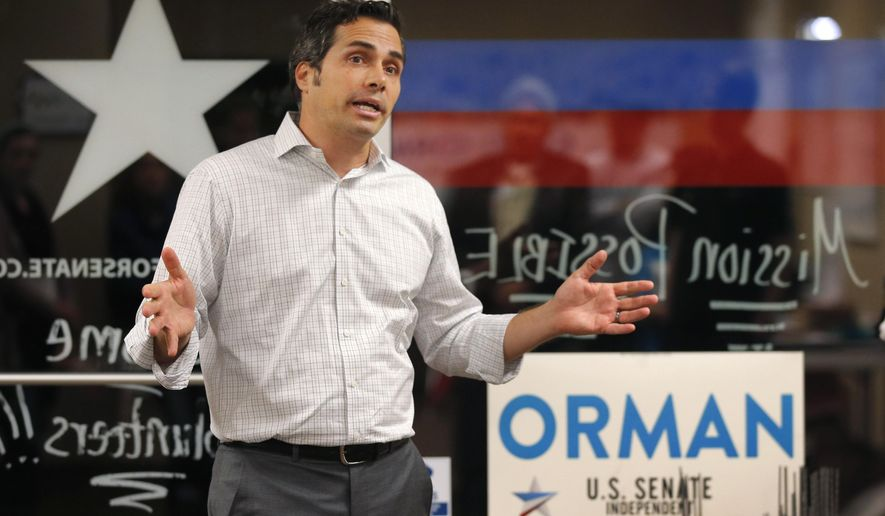 The latest polls give independent Senate candidate Greg Orman a razor-thin lead over Republican incumbent Pat Roberts in Kansas, one of the reddest states in the union. (Associated Press)