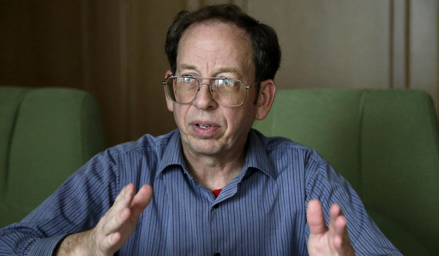 In this Sept. 1, 2014, file photo, Jeffrey Fowle, an American detained in North Korea speaks to the Associated Press in Pyongyang, North Korea. (AP Photo/Wong Maye-E, File)
