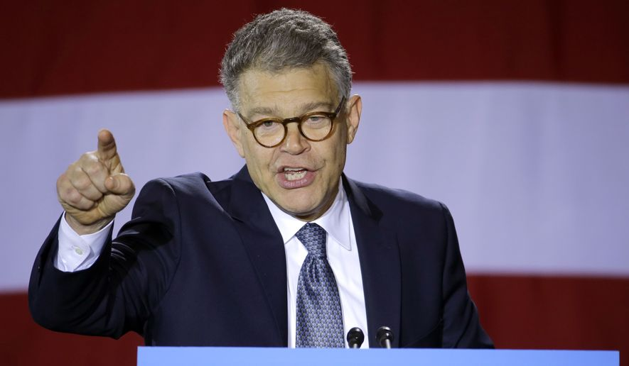 Democratic Sen. Al Franken speaks at at a get-out-the-vote rally at Patrick Henry High School in Minneapolis, Tuesday, Oct. 21, 2014. First lady Michelle Obama joined Franken and Democratic Minnesota Gov. Mark Dayton at the event. (AP Photo/Ann Heisenfelt)