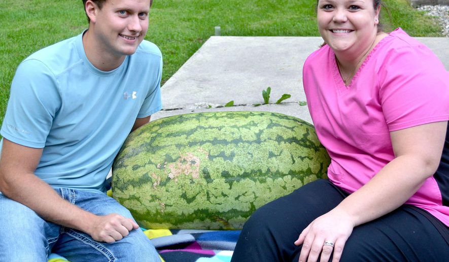 ADVANCE FOR USE SUNDAY, OCT. 26 AND THEREAFTER - In This Sept. 19, 2014 photo, Devin and Jackie Zumbahlen pose with their recently harvested Carolina Cross watermelon that weighs 143 pounds. Devin grew Carolina Cross watermelons the past two years weighing about 115 pounds each. Next year Devin wants to see if he can grow a 200-pound plus melon. The world record watermelon, a 250.5-pound behemoth, was grown last year by Chris Kent of Sevierville, Tenn. (AP Photo/Effingham Daily News, Bill Grimes)