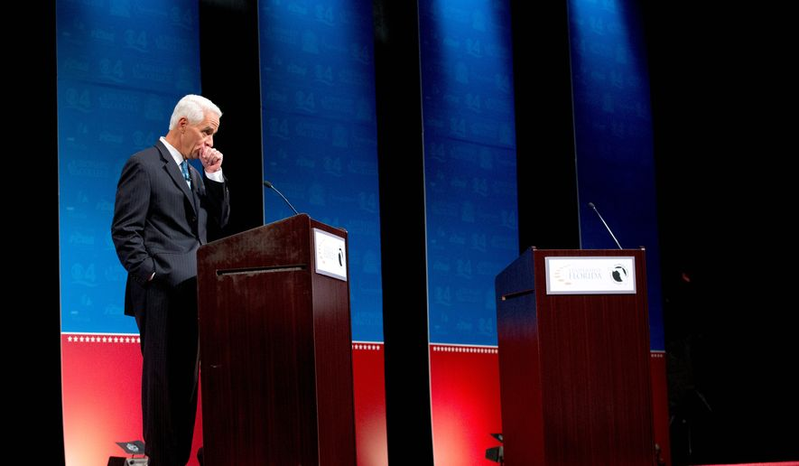 Democratic challenger and former Florida Gov. Charlie Crist was left standing alone prior to a debate with Florida Republican Gov. Rick Scott when Mr. Crist insisted on having a fan onstage to keep him cool during the meeting. Candidates are now agreeing on terms of debates prior to taking the dais. (Associated Press)