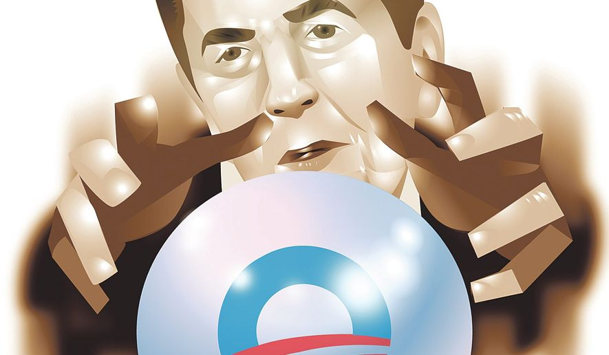"""Illustration on the prescient warnings of Reagan's """"A Time to Choose"""" speech by Linas Garsys/The Washington Times"""