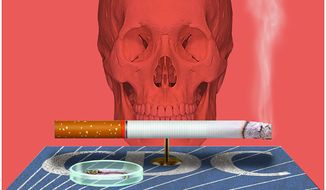 Illustration on the CDC's raison d'etre: preventing tobacco use by Alexander Hunter/The Washington Times