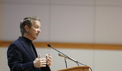 U.S. Sen. Rand Paul, R-Ky., speaks at a campaign event for Republican businessman Rod Blum, who is running against Democratic state lawmaker Pat Murphy in the 1st Congressional District, Wednesday, Oct. 22, 2014, on the University of Northern Iowa campus in Cedar Falls, Iowa. (AP Photo/Waterloo Courier, Matthew Putney)