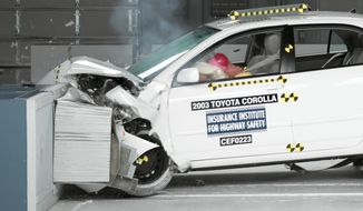 This undated photo provided by the Insurance Institute for Highway Safety shows a crash test of a 2003 Toyota Corolla, one of the models subject to a recall to repair faulty air bags. The National Highway Traffic Safety Administration is warning 7.8 million car owners that inflator mechanisms in the air bags can rupture, causing metal fragments to fly out when the bags are deployed. (AP Photo/Insurance Institute for Highway Safety)